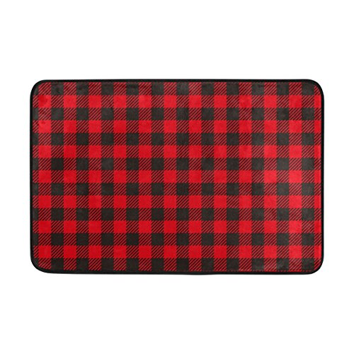 My Daily Black Red Plaid Gingham Checkered Doormat 15.7 x 23.6 inch, Living Room Bedroom Kitchen Bathroom Decorative Lightweight Foam Printed Rug by ALAZA