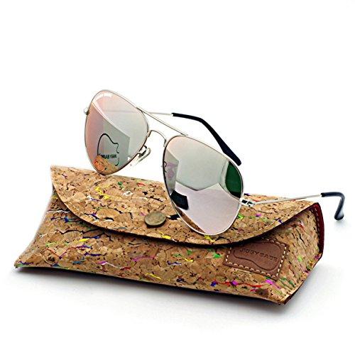 Top Quality Aviator Sunglasses 3025 Large Metal Retro Brand Name UV400 Flash Crystal Glass Mirror Wayfarer (Silver / Rose Gold , - Top Brands Sunglasses Wayfarer