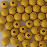 12mm Round Wood Beads (50pc) - Yellow