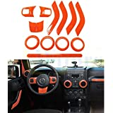 Wiipro 14 PCS Set Interior Decoration Trim Kit Orange Steering Wheel Center Console Air Outlet Cover with Special Mark for Car decor Jeep Wrangler 2011-15 Cab 4 Door Handle Covers Inner Kit