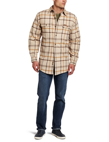 Carhartt Men's Youngstown Flannel Shirt Jacket Original Fit,Field Khaki  (Closeout),Large Tall