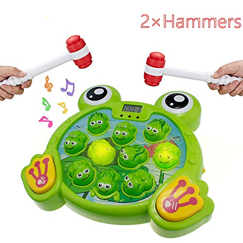 INvench Whack A Frog Toddler Toys – 2 Hammers Baby Interactive Fun Toys Toddler Activities Games with Music&Light for Boys Girls Ages 2 3 4 5 6