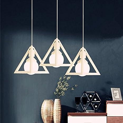 icase4u® Blanco Triángulo Retro Antiguo Industrial Metal Lámpara Colgante de Techo Moderno Minimalista Creativa Portalámpara Perfecta para ...