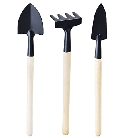 Annymall Mini Gardening Tools, 3 Piece Small Shovel Rake Spade Succulent  Plants Potted Flowers Garden