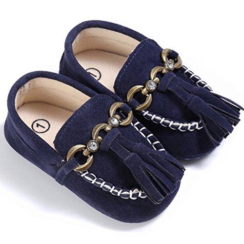 Bebé Zapatos, OverDose Bebé Zapatos De Cuna Linda Cuna Deslizamiento En Los Zapatos De Confort Mocasines Soft Prewalker Anti-Slip Zapatos Azul