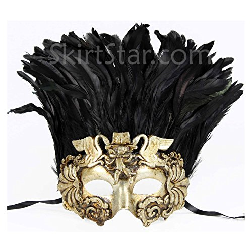 [Men's Warrior Masquerade Mask with Feathers (Silver)] (Ancient Roman Soldier Costume)