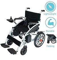 Foldable Lightweight Heavy Duty Lithium Battery Electric Power Wheelchair Multi Terrain Easy Travel (Black)