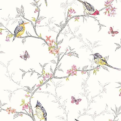 Phoebe (White) (Bird Wallpaper)