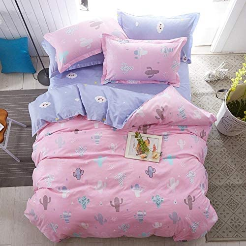 GRENSS Ensemble de literie 3/4 pièces mignon dessin animé renard pour enfants linge de lit draps de lit draps de lit taies d'oreiller comme photo_Twin 4 pièces