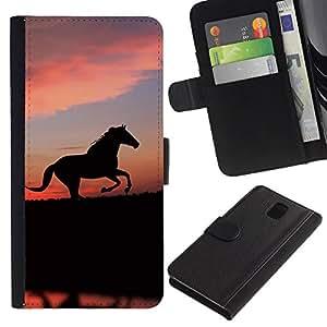 All Phone Most Case / Oferta Especial Cáscara Funda de cuero Monedero Cubierta de proteccion Caso / Wallet Case for Samsung Galaxy Note 3 III // cute animals horse