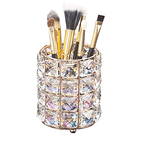 Aila Makeup Brush Holder Organizer Golden Crystal Bling Personalized Gold Comb Brushes Pen Pencil Storage Box Container (Crystal Pot) (Makeup Chair Table)