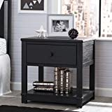 Serta Langston Nightstand with Drawer and Shelf, Rustic Ebony