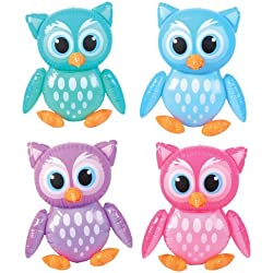 "4 Adorable 24"" Owl Inflates - Birthday Party Colorful DECORATIONS/Decor/FAVORS/Inflatables/You're A HOOT/Owlet by RIN"