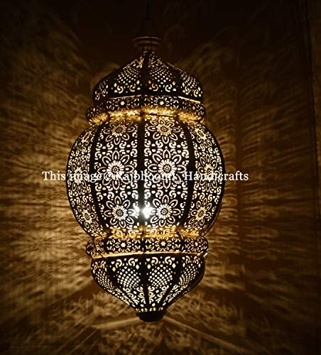 Modern Turkish Vintage Antique Look Moroccan Black Gold Ceiling Lights Home Lantern Pendant Gifts Oriental Arabian Hanging Lamp
