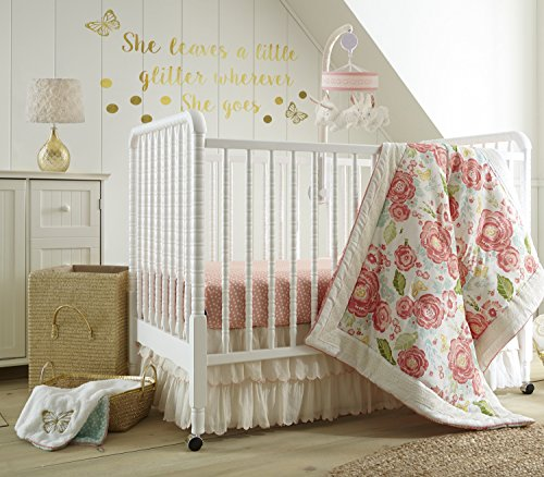 Levtex Baby Charlotte Coral and Cream Floral 5 Piece Crib Bedding Set, Quilt, 100% Cotton Crib Fitted Sheets x 2, 3-tiered Dust Ruffle, and Large Wall (Baby Crib Set 5 Piece)