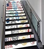 Stair Stickers Wall Stickers,13 PCS Self-adhesive,United States,Grunge Stamps of America Las Vegas New York San Francisco Hawaii Illustration,Multicolor,Stair Riser Decal for Living Room, Hall, Kids R