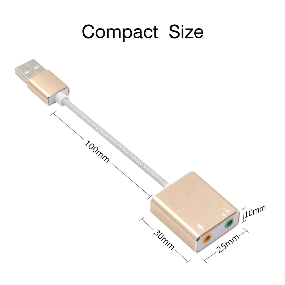 Mac Desktops Laptops USB-Gold PC Nylon Braided USB Audio Adapter with 3.5mm Headphone and Microphone Jack for Windows PS4 Linux AUSWAUR Aluminum USB External Stereo Sound Card Adapter
