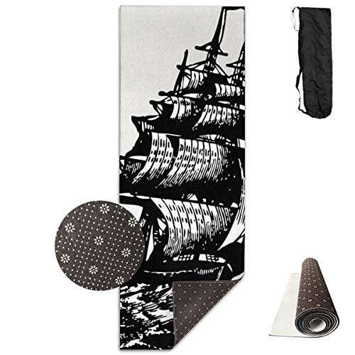 Vintage Clipart Ship Yoga Mat - Advanced Yoga Mat - Non-Slip Lining - Easy to Clean - Latex-Free - Lightweight and Durable - Long 180 Width 61cm