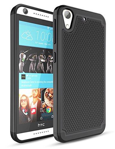 HTC Desire 626 Case,Desire 626S Case,TILL(TM) Hybrid Dual Layer Rubber Plastic Impact Armor Defender Hard Protective Case Cover for HTC Desire 626 / 626s,Black/Black