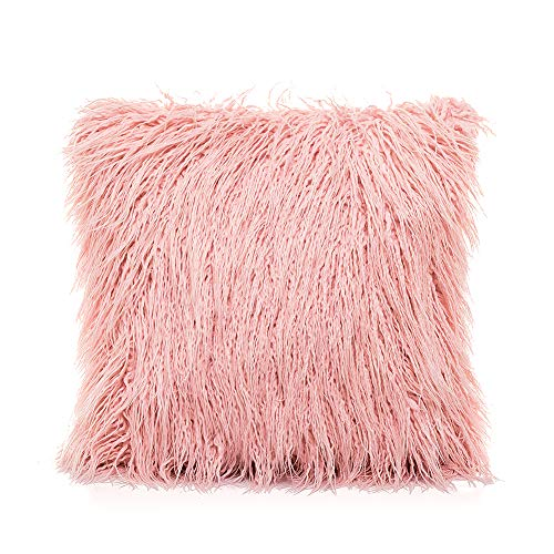 Ojia Deluxe Home Decorative Super Soft Plush Mongolian Faux Fur Throw Pillow Cover Cushion Case (24 x 24 Inch, Pink)
