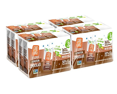 Good Karma Flaxmilk Chocolate 6.75 oz. Lunchbox Cartons (Shelf Stable 24 Pack) Great for Kids' School Lunches; Chocolate Flavored Dairy Free Milk Alternative Is Nut Free, Soy Free, and Gluten-Free ()