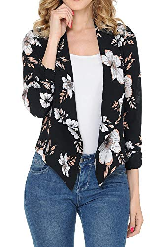 - Auliné Collection Womens Floral Casual Lightweight 3/4 Sleeve Fitted Open Blazer Floral Print 33 Small