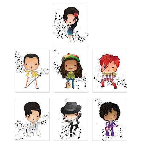(Music Stars Wall Art Prints - Set of 7 Photos - Amy Winehouse Freddie Mercury Bob Marley David Bowie Elvis Michael Jackson Prince)