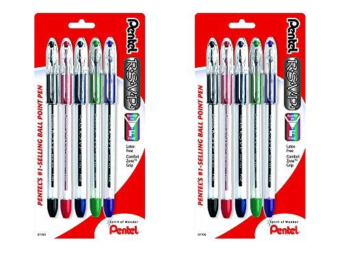 (Pentel 2 Pack of 5 R.S.V.P. 0.7 mm Fine Line Assorted Color Ballpoint Pen bundled by Maven Gifts)