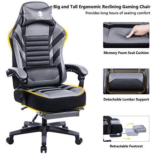 KILLABEE Big and Tall 400lb Memory Foam Reclining Gaming Chair – Adjustable Back Angle and Retractable Footrest Ergonomic High-Back Leather Racing Executive Computer Desk Office Chair, Grey&Black
