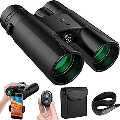 Binoculars for Adults, 12x42 Low Night Vision Binoculars Telescopes with Cell Phone Photography Adapter and Wireless Camera Shutter Remote Control for Bird Watching/Hunting/Camping/Travelling