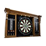 Barrington Premium Bristle Dartboard, Cabinet, Accessories, Dark Wood with LED Lights - Competition Dartboards with Steel Tip Darts, 2 Scoreboards - Protective Display Cabinet for Bar and...