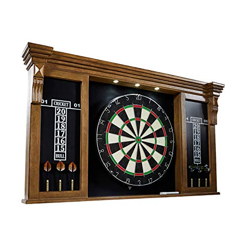 Barrington Premium Bristle Dartboard, Cabinet, Accessories, Dark Wood with LED Lights - Competition Dartboards with Steel Tip Darts, 2 Scoreboards - Protective Display Cabinet for Bar and Home Decor (Light 2 Barrington)