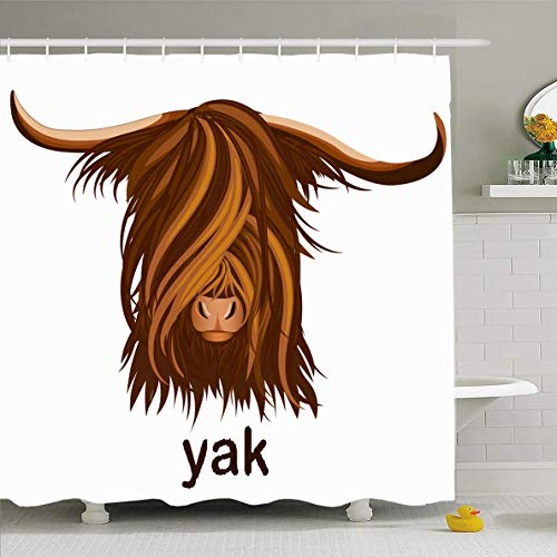 Ahawoso Shower Curtain 66x72 Inches Yak Beef Head Emblem Mascot Retro Bison Buffalo Bull Butchery Design Wild Waterproof Polyester Fabric Set with Hooks]()