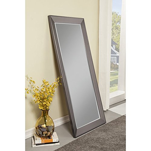 Full Length Mirror - Leaning Or Hang Floor Free standing or Wall mounted - Horizontal or Vertical Plastic Framed Contemporary Mirror (Silver)