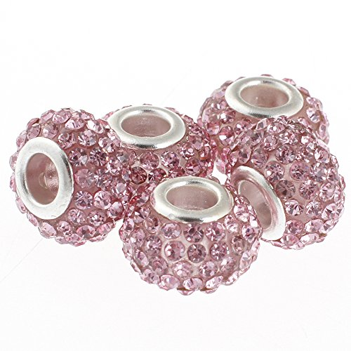 (RUBYCA Big Hole Czech Crystal Large Slide Beads fit European Charm Bracelet (5pcs, Pink 15mm))