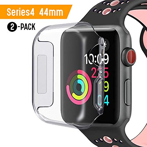 Piero Lorenzo for Apple Watch 44mm Screen Protector iWatch 4 case 2018 New Overall Protective Case TPU HD Clear Ultra-Thin Cover for Apple Watch Series 4 -Packs of ()