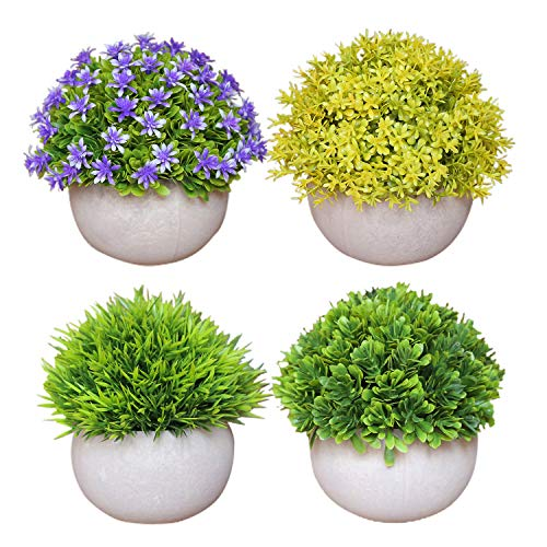 4Pack Artificial Plants in Pots for Home Decor Indoor Aesthetic, Fall Décor Faux Fake Topiary Shrubs Plant Flower for…