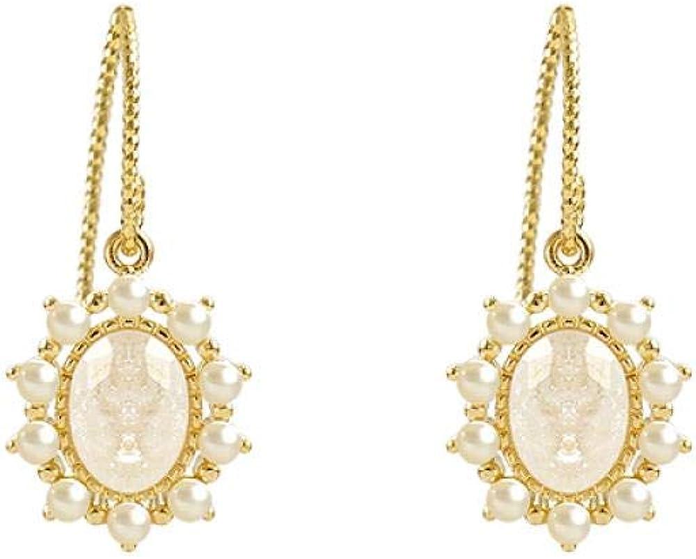 Pendientes De Mujer, Perlas De Piedras Preciosas Ovaladas, Ganchos Para La Oreja De Oro, Regalo Para Niñas/Pendientes De Mujer