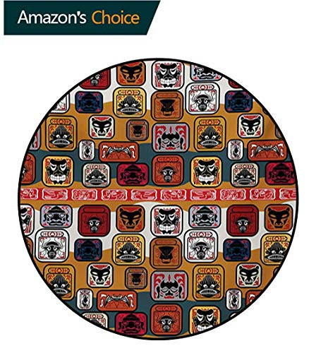 RUGSMAT Primitive Machine Washable Round Bath Mat,Native American Style Mayan Face Mask in Different Expressions Universal Totem Non-Slip No-Shedding Bedroom Soft Floor Mat,Round-55 Inch ()