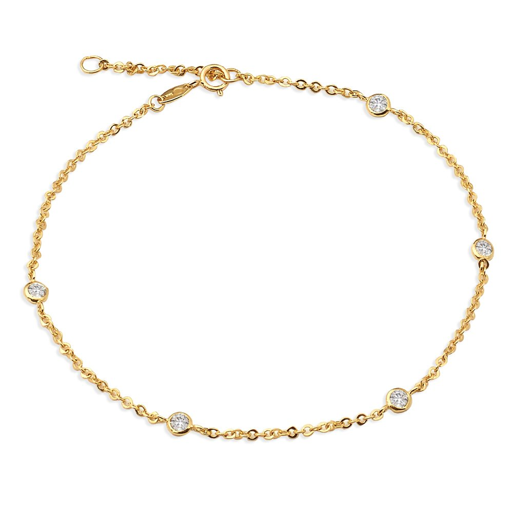 LOVEBLING 10K Yellow Gold 1.8mm Diamond Cut Rolo Chain 5 CZ Stone pendants Anklet Adjustable 9'' to 10'' (#19)