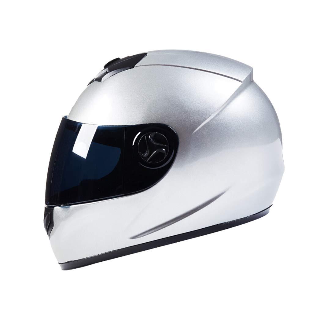GWM オートバイのヘルメット、フェイスヘルメットの冬をさらす車のバッテリー男性女性ダブルレンズ、四季の一般的な防曇フルカバー雨と太陽が全体ヘルメット、ヘルメット半ヘルメット二重人格、ヴィンテージオートバイの半分のヘルメットを温めます (色 : シルバー しるば゜) シルバー しるば゜