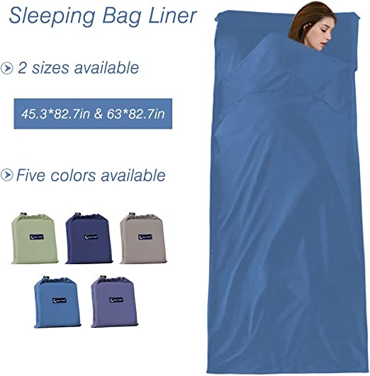 Sleeping Bag Liners Lightweight Travel Camping Sheet Sleep Bag Liner Adults Lightweight Warm Weather Hotel Compact Portable Sleeping Sack Indoor Outdoor Hostels Traveling Backpacking Hiking Blankets