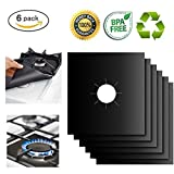"6-Pack Reusable Gas Stove Burner Covers Non-stick Stovetop Burner Liners Gas Range Protectors for Kitchen- Size 10.6"" x 10.6""- Double Thickness 0.2mm, Cuttable, Dishwasher Safe, Easy to Clean"