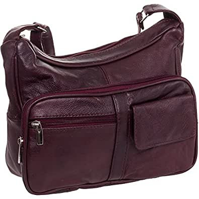 Roma Leathers Women's Wine Red Leather Crossbody Shoulder Bag