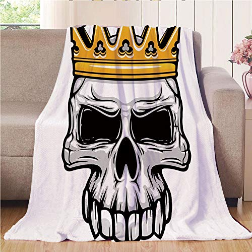 Throw Blanket Super soft and Cozy Fleece Blanket Perfect for Couch Sofa or bed,King,Hand Drawn Crowned Skull Cranium with Coronet Tiara Halloween Themed Image Decorative,Golden and Light Grey,47.25