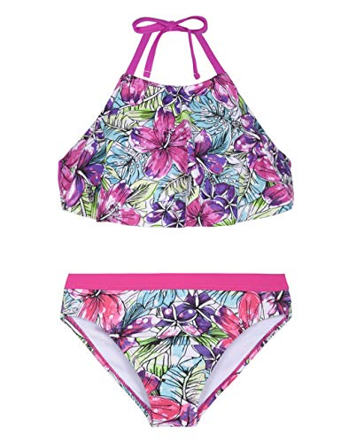 (Hilor Girl's Flutter Bikini Set Swimwear Flounce Two Piece Swimsuits High Neck Tankini Set Purple Floral L/10-12)
