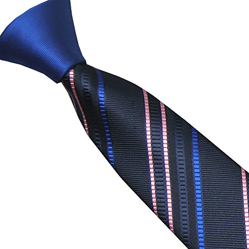 Lammulin Ties Blue Knot Contrast Navy/Pink Diagonal Plaids/Stripes Necktie Skinny Tie