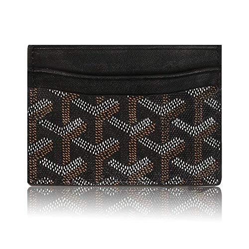 BeAllure Fashion Designer Credit Card Holder For Women Men Gifts, Genuine Leather Slim Minimalist Front Pocket Wallet Bag,Black Designer Credit Card Holder