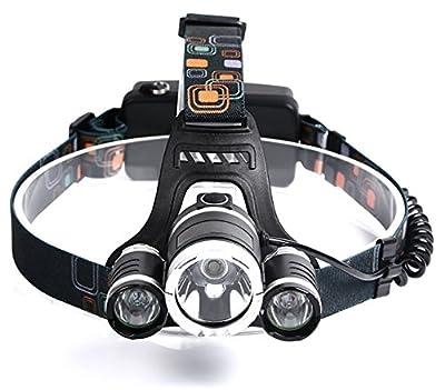 1 Set 13000 Lumens XM-L T6 3x LED Flashlight Headlamp Headlight 3 Mode 50W Flashlights Glistening Fashionable Ultra Xtreme Waterproof Hiking Hunting Light 2x 18650 Battery USB AC Car Charger