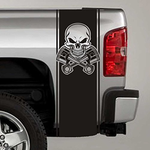 Bed Stripe Decals - Jeepazoid - Truck Bed Stripe Decal - Skull & Pistons Universal Fit - Black Sticker - (Pair - Left and Right)